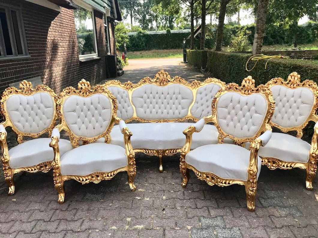 French Sofa Louis XVI Furniture Rococo Chair Antique Settee White Velvet Tufted Chair *5 Piece Set* Gold Baroque Chair Refinish Gold Leaf