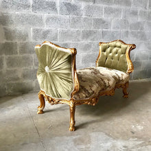 Load image into Gallery viewer, French Marquis Antique Furniture Marquis Forrest Green French Tufted Chair Refinish Gold Leaf New Padding tufted Fabric Interior Design
