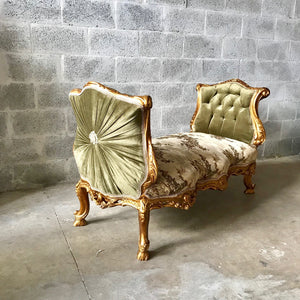 French Marquis Antique Furniture Marquis Forrest Green French Tufted Chair Refinish Gold Leaf New Padding tufted Fabric Interior Design
