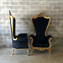 "Load image into Gallery viewer, Italian Baroque Throne Chair HighBack 74""H Gold Chair Tufted Black Velvet French Furniture Rococo Interior Design French Chair Tufted Chair"