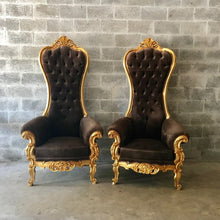 Load image into Gallery viewer, Cholocate Throne Chair Brown Chair French Chair Throne Chair Reproduction Brown Velvet Chair Tufted Gold Throne Chair Rococo Interior Design