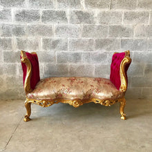 Load image into Gallery viewer, French Marquis Antique Furniture Marquise Burgundy Red French Tufted Chair Refinish Gold Leaf New Padding tufted Fabric Interior Design