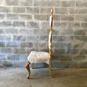Italian Baroque Throne Chair High Back Reproduction Gold White Tufted Chair Rental Events French Furniture French Chair Rococo Furniture