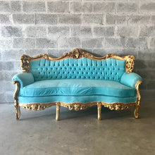 Load image into Gallery viewer, Rococo Furniture Settee Baroque Chairs Baroque Furniture Chairs Antique Furniture Rococo Tufted Chair Gold Leaf Tufted Teal Turquoise Fabric