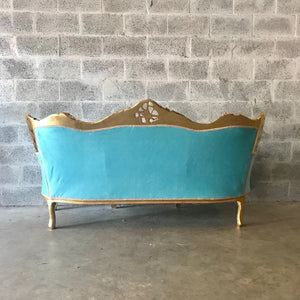 Rococo Furniture Settee Baroque Chairs Baroque Furniture Chairs Antique Furniture Rococo Tufted Chair Gold Leaf Tufted Teal Turquoise Fabric