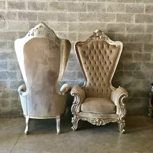 "Load image into Gallery viewer, Italian Baroque Throne Chair HighBack 74""H Silver Chair Tufted Beige Cream Beige Velvet French Rococo Interior Design"