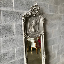 Load image into Gallery viewer, French Woman Face Silver Mirror Matt Silver Antique Mirror French Mirror Furniture Baroque Mirror Rococo Silver Wall Mirror Interior Design