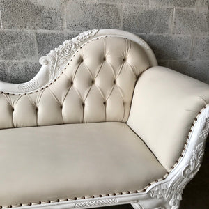 French Chaise Lounge French Furniture Off-White Settee Baroque Furniture Rococo White Velvet Tufted Sofa Interior Design