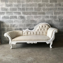 Load image into Gallery viewer, French Chaise Lounge French Furniture Off-White Settee Baroque Furniture Rococo White Velvet Tufted Sofa Interior Design