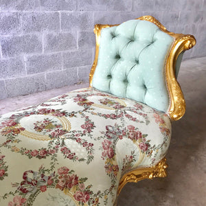 French Marquis Antique Bench Furniture Marquise French Tufted Chair Refinish Gold Leaf New Padding tufted Fabric Interior Design