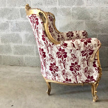 Load image into Gallery viewer, Baroque Chairs *2 Available* Vintage Chairs French Bergere Red Wine Burgundy New Uphostery Interior Design Antique Chair Furniture