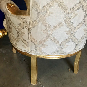 Rococo Chair Throne Chair Antique Furniture Interior Design *2 Available* Wingback Chair Gold Leaf New Upholstery Gray Baroque French Chair