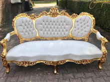 Load image into Gallery viewer, French Sofa Louis XVI Furniture Rococo Chair Antique Settee White Velvet Tufted Chair *3 Piece Set* Gold Baroque Chair Refinish Gold Leaf