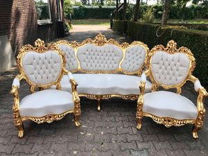 French Sofa Louis XVI Furniture Rococo Chair Antique Settee White Velvet Tufted Chair *3 Piece Set* Gold Baroque Chair Refinish Gold Leaf
