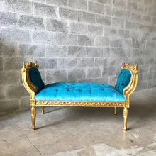 Load image into Gallery viewer, French Marquis Antique Bench Furniture Marquise Teal Velvet Blue French Tufted Chair Refinish Gold Leaf New Padding tufted Interior Design