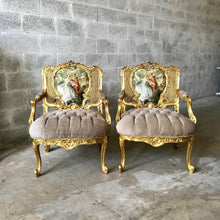 Load image into Gallery viewer, French Chair Louis XVI & Settee *3 Piece Set* Furniture Tufted MarquiseVelvet Gold French Tufted Settee Refinish Gold Leaf tufted Fabric