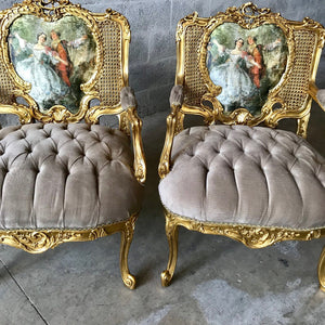 French Settee French Louis XVI Settee *3 Piece Set Available* French Furniture Tufted Chair Vintage Furniture Interior Design