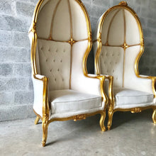 Load image into Gallery viewer, French Balloon Chair Throne Chair *4 Available* High-Back French Canopy Gold Chair Tufted Off-White Velvet Interior Design