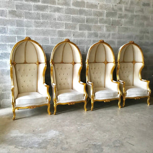 French Balloon Chair Throne Chair *4 Available* High-Back French Canopy Gold Chair Tufted Off-White Velvet Interior Design