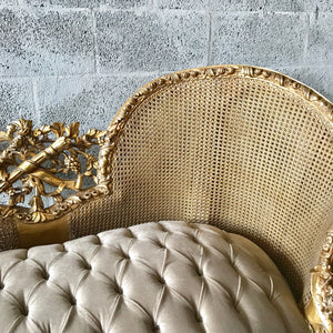 French Marquis Antique Furniture Marquise Gray Velvet French Tufted Chair Refinish Gold Leaf New Padding tufted Fabric Interior Design
