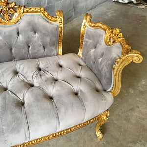 French Chair Louis XVI Furniture Tufted Velvet Gold Marquis French Marquise French Tufted Settee Refinish Gold Leaf New Pading tufted Fabric