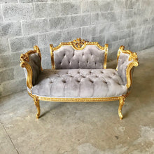 Load image into Gallery viewer, French Chair Louis XVI Furniture Tufted Velvet Gold Marquis French Marquise French Tufted Settee Refinish Gold Leaf New Pading tufted Fabric