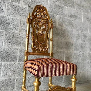 French Chair Antique Dining Chair New Upholstery Refinished Gold Leaf Baroque Furniture Rococo Chair Interior Design Chair