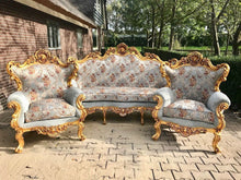 Load image into Gallery viewer, Baroque Throne Sofa French Furniture *3 Piece Set* French Louis XVI Furniture Rococo Velvet Tufted Gold Frame Interior Design