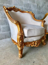 Load image into Gallery viewer, Baroque Bergere Beige Chair Throne Chair *2 Available + Matching Sofa* Creme Suede Furniture Throne Sofa Throne Chair Refinish French Chair