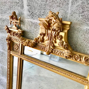 "French Floor Mirror 67""H x 42.5""W Gold Heavy Throne Mirror Carved Great Condition Louis XVI Mirror Rococo Furniture Mirror Baroque"