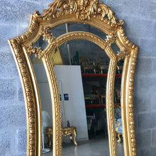 "Load image into Gallery viewer, French Mirror Gold Antique Curved Mirror French Furniture 86.5""H x 46""W Louis XVI Mirror Rococo Baroque Furniture Gold Antique Mirror"