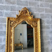 "Load image into Gallery viewer, French Mirror Gold Antique Curved Mirror French Furniture 84""H x 44""W Louis XVI Mirror Rococo Baroque Furniture Gold Antique Mirror"