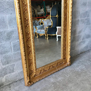 "French Mirror Gold Antique Curved Mirror French Furniture 84""H x 44""W Louis XVI Mirror Rococo Baroque Furniture Gold Antique Mirror"