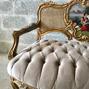 French Chair French Tufted Chair Louis XVI Furniture French Settee Gold Frame Tufted Sofa French Marquise Settee Interior Design