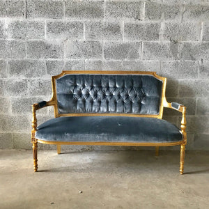 French Settee French Chairs *2 Available Louis XVI Sofa Antique Furniture Velvet Tufted French New Padding Interior Design Baroque Furniture