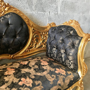 Baroque Throne Sofa French Settee *2 Available Furniture Marquise French Louis XVI Furniture Rococo Velvet Tufted Gold Frame Interior Design