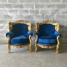 Load image into Gallery viewer, Baroque Chairs Baroque Furniture Chairs Furniture Rococo Tufted Chair Refinish Gold Leaf Tufted Blue Velvet Fabric Interior Design