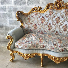 Load image into Gallery viewer, Baroque Throne Sofa French Furniture *3 Piece Set Avail* French Chairs Louis XVI Furniture Rococo Velvet Tufted Gold Frame Interior Design