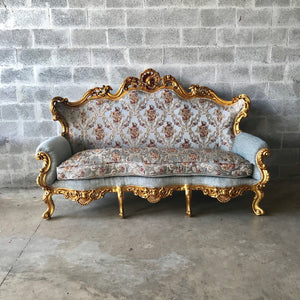 Baroque Throne Sofa French Furniture *3 Piece Set* French Louis XVI Furniture Rococo Velvet Tufted Gold Frame Interior Design