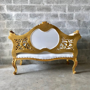 French Marquise French Furniture Baroque Furniture Rococo Settee French Tufted Settee White Leather Interior Design