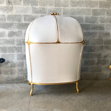 Load image into Gallery viewer, French Balloon Chair Canopy Chair *a Pair Double Seat* Reproduction White Leather Chair Tufted Gold Leaf French Furniture Interior Design