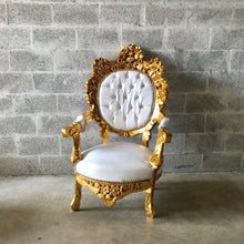 Load image into Gallery viewer, Gold Tufted Chair Antique Italian Rococo Furniture Throne Chair 2 Chairs Avail Throne Chair Leather Chair Baroque French Chair Vintage Chair