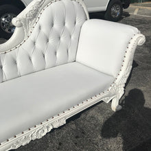Load image into Gallery viewer, French Chaise Lounge French Furniture Tufted White Leather Settee Baroque Furniture Rococo White Velvet Tufted Sofa Interior Design