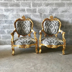 Rococo Throne Sofa French Furniture 3 Piece Availabl French Chairs Louis XVI Furniture Rococo Chair Gold Frame Interior Design Baroque Chair