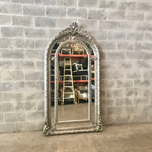 "Load image into Gallery viewer, French Floor Mirror Silver Heavy Carved French Furniture 81""H x 44.5""W French Louis XVI Vintage Mirror Rococo Baroque Antique Furniture"