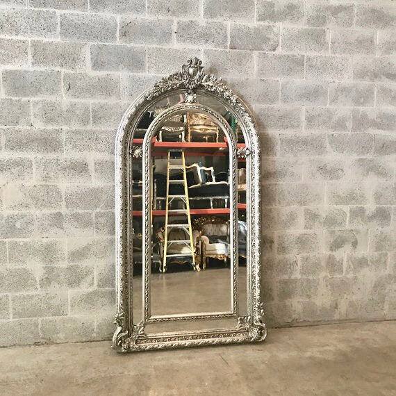French Floor Mirror Silver Heavy Carved French Furniture 81