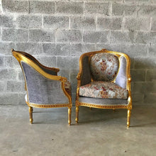 Load image into Gallery viewer, French Chairs French Furniture Settee *3 Piece Set* Chairs French Sofa Furniture French Corbeille Chair Refinish Gold Leaf Interior Design