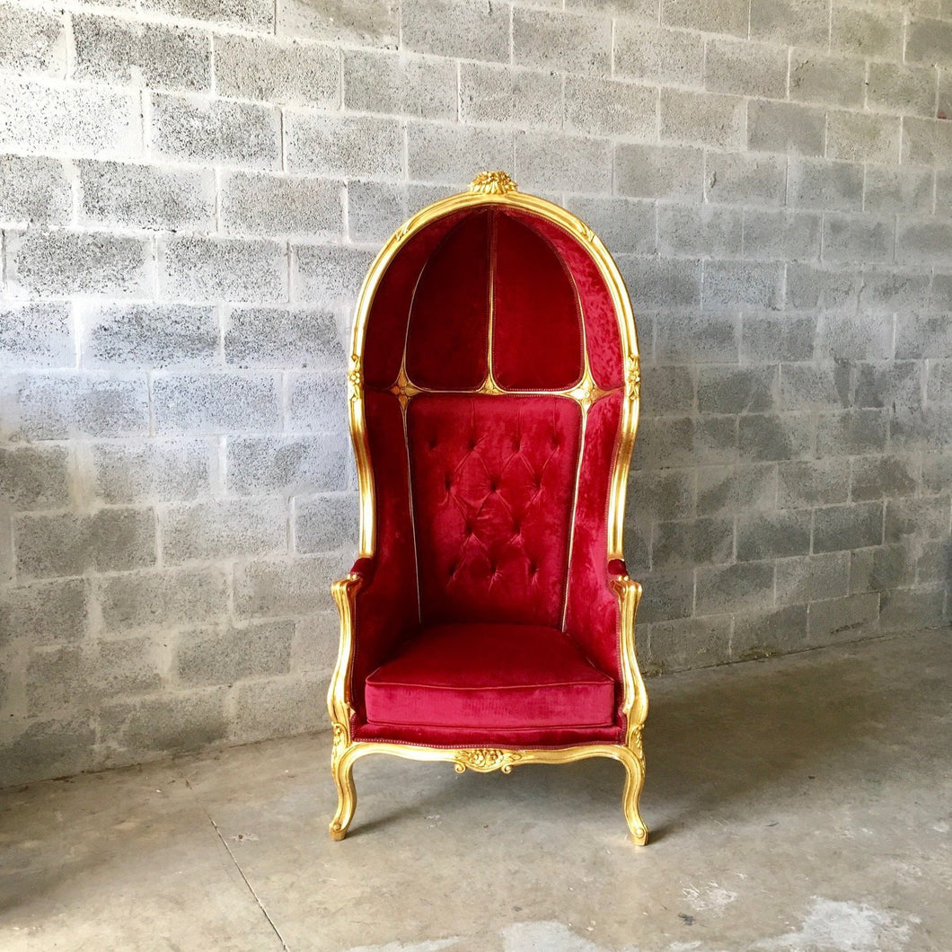 French Balloon Chair Throne Chair *2 Avail* High-Back Reproduction Gold Chair Tufted Red Velvet Canopy Chair French Interior Design