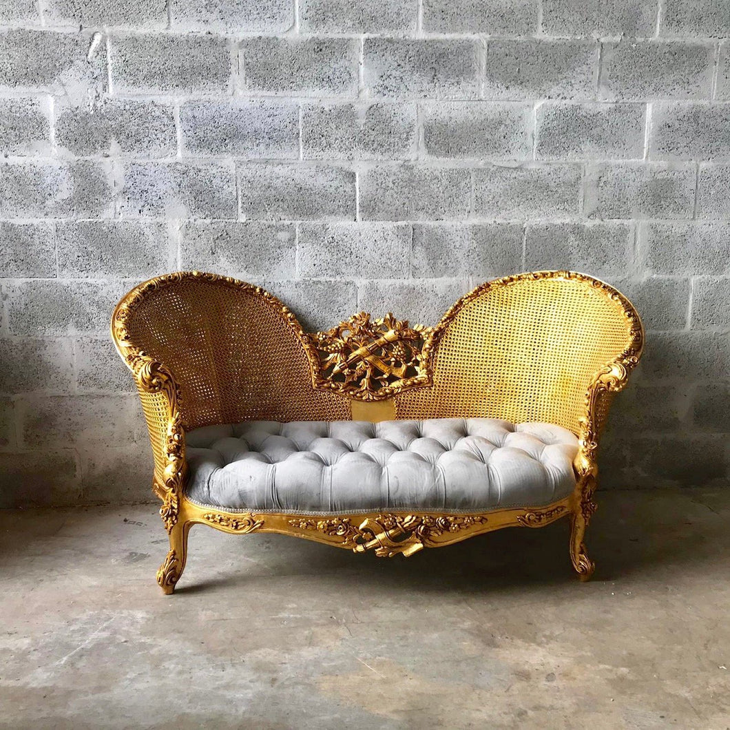 French Marquis Antique Furniture Marquise French Tufted Chair Refinish Gold Leaf New Padding tufted Fabric Interior Design