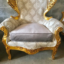 Load image into Gallery viewer, Rococo Chair Throne Chair Antique Furniture Interior Design *2 Available* Wingback Chair Gold Leaf New Upholstery Gray Baroque French Chair